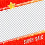 Super sale 50 off discount. Template banner square format. Big discount for print advertising and web banner. Flat. Vector illustration on transparent Vector Illustration