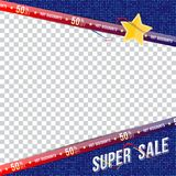 Super sale 50 off discount. Template banner square format. Big discount for print advertising and web banner. Flat vector illustra. Tion on transparent Stock Illustration