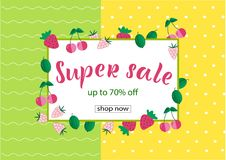 SUPER SALE 70% OFF Lettering design. SUPER SALE 70% OFF background loyout. Lettering design with berry, frame for banner, flyer, invitation, poster, greeting stock illustration