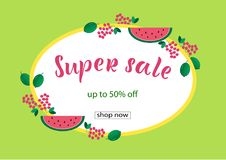 SUPER SALE 50% OFF Lettering design. SUPER SALE 50% OFF background loyout. Lettering design with berry, frame for banner, flyer, invitation, poster, greeting Royalty Free Illustration