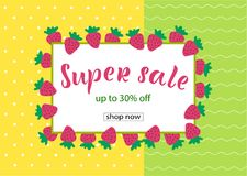 SUPER SALE 30% OFF Lettering design. SUPER SALE 30% OFF background loyout. Lettering design with berry, frame for banner, flyer, invitation, poster, greeting vector illustration