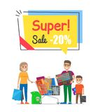 Super Sale with 20 Off Promo Poster with Family. Mother with bags, father holds box and son with purchases stand near trolley vector illustration Royalty Free Stock Photography