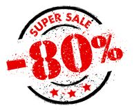 SUPER SALE 80% OFF rubber stamp grunge style. Black and red royalty free illustration