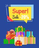 Super Sale -20 off Sign Poster Vector Illustration. Super sale -20 off sign with discount proposition in bright yellow label. Vector illustration with sign Stock Images