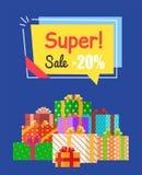 Super Sale -20 off Sign Poster Vector Illustration. Super sale -20 off sign with discount proposition in bright yellow label. Vector illustration with sign vector illustration