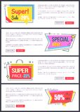 Super Sale -20 off, Special Offer Banners Sticker. Super sale -20 off, special offer banners with sticker in form of arrow, bag and square, decorated with lines Vector Illustration