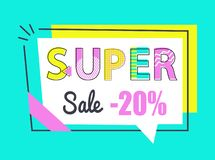 Super Sale 20 Off Sticker in Rectangular Frame. Vector illustration in flat style. Discount label promo price, emblem with info about low cost isolated vector illustration