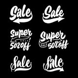 `super sale 50% off` store & shop marketing hand lettering typography tag design. `super sale 50% off` store & shop marketing hand lettering typography for Royalty Free Illustration