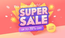 Free Super Sale Offer 3d Pink Banner. Promotion Discount Poster Design. Advertising Digital Campaign Typography Badge Royalty Free Stock Images - 136584609