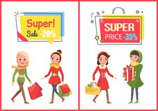 Super Sale and Offer, Reduced Price Banners Set. Vector. Woman shopping for Christmas, bought presents, gift boxes decorated with ribbon tape bows royalty free illustration