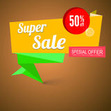 Super sale origami banner. Great background for your promotional posters, advertising shopping flyers, brochure or booklet and discount banners. Vector speech vector illustration