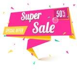 Super sale origami banner. royalty free illustration
