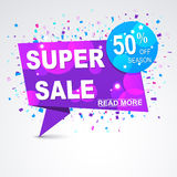 Super sale origami paper banner 50% discount with the explosions confetti around. Stock Images