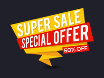 Super Sale Paper Tag or Banner design. Super Sale with 50% Off, Creative Paper Tag, Banner, Poster or Flyer design, Vector illustration Royalty Free Stock Photography