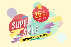 Super sale 25 percent discount poster and flyer. Template for design poster, flyer and banner on colour background. Flat  il Royalty Free Stock Photography