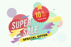 Super sale 10 percent discount poster and flyer. Template for design poster, flyer and banner on colour background. Flat il. Lustration EPS 10 royalty free illustration