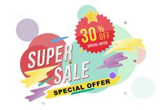 Super sale 30 percent discount poster and flyer. Template for design poster, flyer and banner on colour background. Flat  il Royalty Free Stock Photography