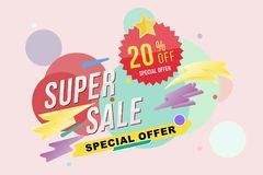 Super sale 20 percent discount poster and flyer. Template for design poster, flyer and banner on colour background. Flat  il. Lustration EPS 10 Stock Photography