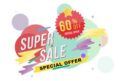 Super sale 60 percent discount poster and flyer. Template for design poster, flyer and banner on colour background. Flat il. Lustration EPS 10 Royalty Free Illustration