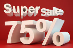 Super sale 75 percent. On red background Stock Photos