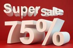 Super sale 75 percent. On red background vector illustration