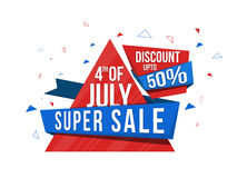 Super Sale Poster for American Independence Day. 4th of July Sale, Super Sale Paper Ribbon, Sale Paper Tag, Sale Banner, 50% Discount, Creative American Flag vector illustration