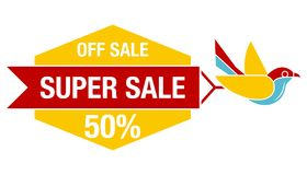Super Sale poster, banner. Big sale, bird flat design. Eps 10 Stock Photography