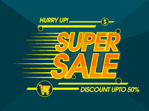 Super Sale Poster or Banner. Super Sale with Discount Upto 50% Off, Creative Poster, Banner, Flyer or Pamphlet with glossy Typography Stock Illustration