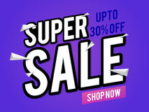 Super Sale Poster, Banner or Flyer design. Creative Poster, Banner or Flyer design of Super Sale with 30% Discount Offer Stock Photo