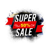 Super Sale Poster, Banner or Flyer design. Super Sale with Flat 50% Off, Red Sale Ribbon, Abstract Sale background with splash, Creative Poster, Banner or Flyer Royalty Free Stock Photos