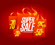 Super sale poster banner with red burning paper shopping bags. Clearance coupon vector design Stock Image