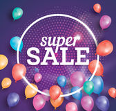 Super Sale poster on pink background with flying balloons. Super Sale poster on pink background with flying balloons and white circle frame. Vector illustration Royalty Free Stock Photos