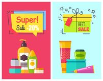 Super Sale -20 Posters Set Vector Illustration. Super sale -20 , posters set, best offer for cosmetics, tubes and containers with emblems, present and stars vector illustration