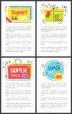 Super Sale and Price -50 on Vector Illustration. Super sale and price -50 , labels reminding present and bag, decorated with stars as sign of quality, and text vector illustration