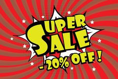 Super sale pricetag in comic pop art style,-20% off discount. Vector illustration royalty free illustration