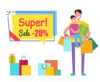 Super Sale Promo Sticker Tag Man Son Shopping Bag. Super sale promo sticker in square shape frame speech bubble 20 discount and father holding son and shopping Royalty Free Stock Photography
