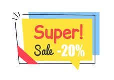 Super Sale Promo Sticker in Square Shape Frame Tag. Super sale promo sticker in square shape frame speech bubble 20 discount offer vector illustration in yellow Royalty Free Stock Images