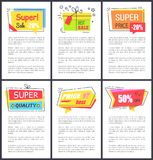 Super Sale -20 and Quality Vector Illustration. Super sale -20 and quality, best price, stickers with stars and bows, labels and explanatory text below each royalty free illustration