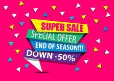 Super sale retro vintage 50% discount. SALE,SUPER SALE,BIG SALE,DISCOUNT,50%,SHINING BANNER,SUPER OFFER FIFTH EDITION FUSCHIA Royalty Free Stock Image