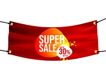 Super sale 30%, sales promotion, Blue textile, fabric, denim banners with folds, cloth, Blank hanging textile, 3D rendering  on wh. Ite background, for vector illustration