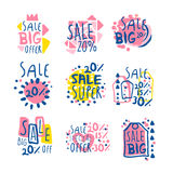 Super sale set for label design. Sale shopping, exclusive special offers badges. Colorful vector Illustrations Stock Photos