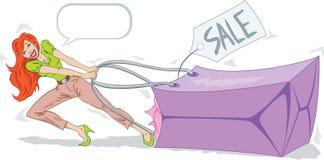 Super Sale. Shopper dragging massive shopping bag Royalty Free Stock Images