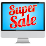 Super Sale sign in modern monitor Royalty Free Stock Photography