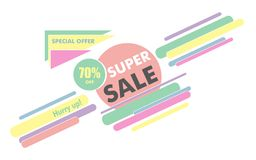 Super sale sign for poster or banner. Modern simple geometric te Royalty Free Stock Photos