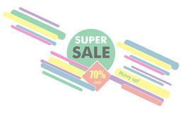 Super sale sign for poster or banner. Modern simple geometric te Stock Image