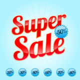 Super Sale sign in red color. Super red Sale sign in with procent labels Royalty Free Stock Images