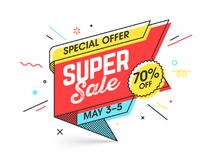 Super sale special offer banner. Super sale, special offer banner template in flat trendy memphis geometric style, retro 80s - 90s paper style poster, placard Stock Photos