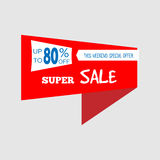 Super Sale special offer banner, up to 80% off. Vector illustration. Colorful total sale sign.Red label. Icon for special offer. S. Ale typography background Stock Photos