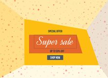 Super Sale, special offer. Big sale special up to 50 . Super Sale, season special offer. Big sale special up to 50 off. Colorful realistic sticker, banner for Stock Images
