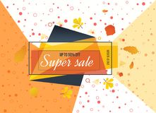 Super Sale, special offer. Big sale special up to 50 . Super Sale, season special offer. Big sale special up to 50 off. Colorful realistic sticker, banner for Stock Image
